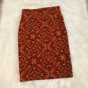 Lularoe Small Cassie Burnt Orange Aztec Skirt